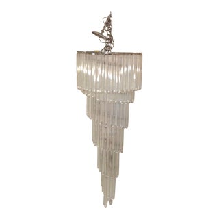 Tall 1970s Venini Style Chandelier With U Shaped Clear and White Glass Drops 54 Tall X 21 Wide For Sale