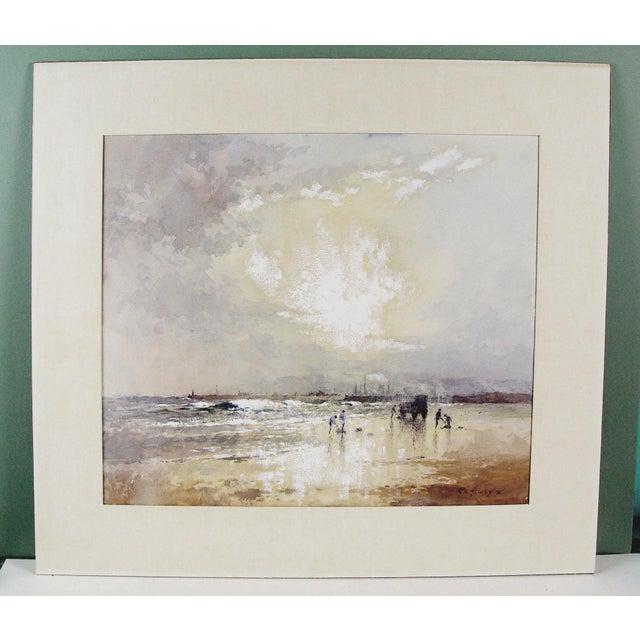 Robert Howey Sunrise Clam Digging Watercolor For Sale - Image 4 of 4