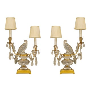 A Lovely Pair of French Crystal Bird Candelabra For Sale