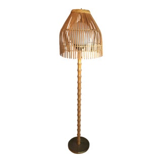 Mid-Century Rattan Floor Lamp With Bamboo Body For Sale