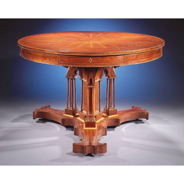 This exceptional Charles X mahogany drum table, attributed to Alphonse Giroux and Company of Paris, a firm celebrated for...
