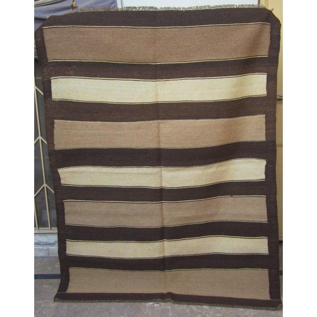 """Vintage Afghan Gebbeh Style Kilim Rug - 5' x 6'9"""" - Image 9 of 9"""