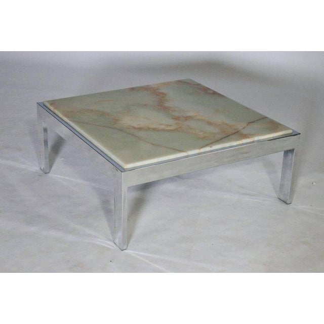 Mid-Century Modern Steel and Marble Cocktail Table For Sale - Image 3 of 6