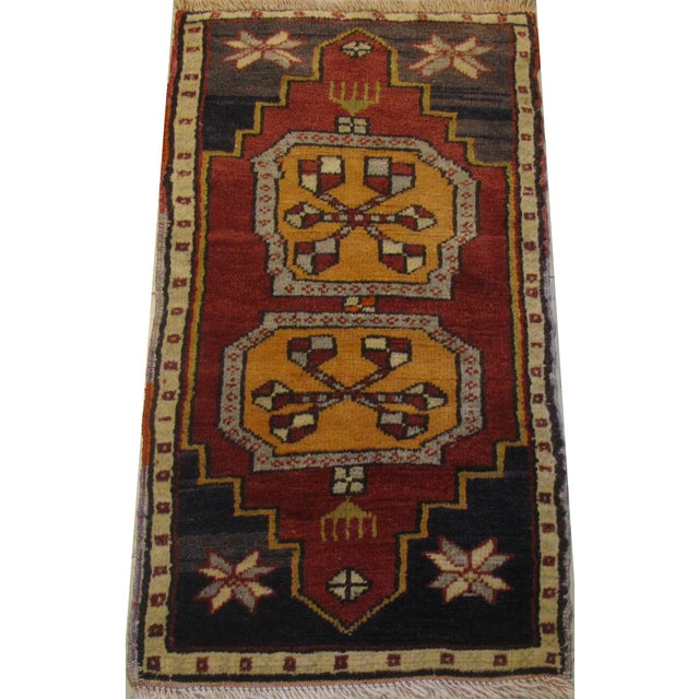 Vintage Rug Origin: Turkish Style: Oushak Color: Red, Blue, Orange Handmade 100% Wool Pile