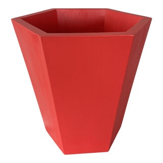 Chinese Red Hexagonal Wooden Wastebasket by Irwin and Lane For Sale