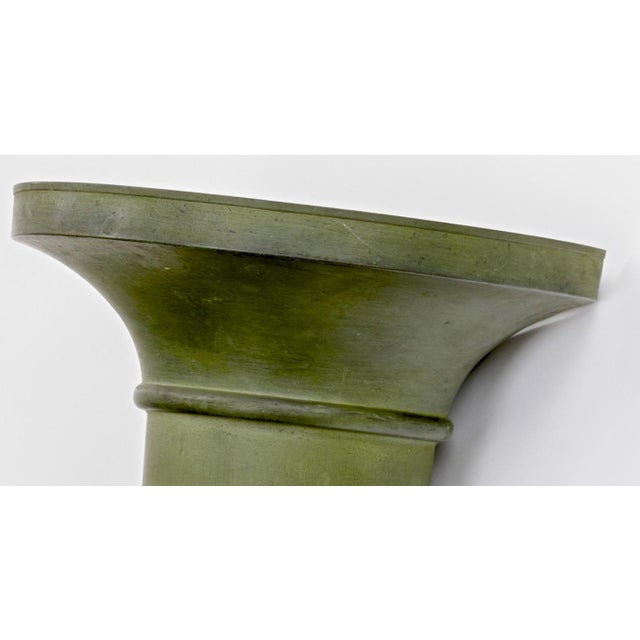 French French Neo Classical Refined Tole Sconces With a Green Antique Patina For Sale - Image 3 of 8
