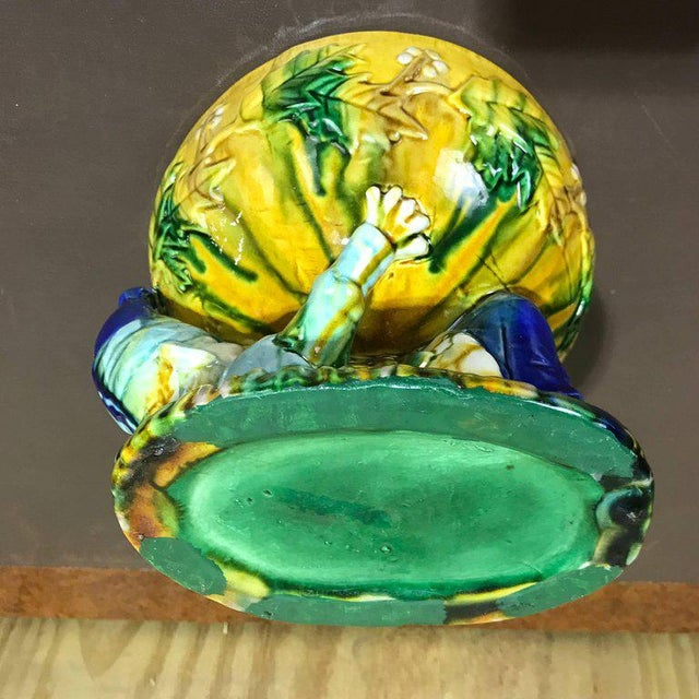 "Majolica George Jones Style ""Punch"" Bowls - A Pair For Sale - Image 9 of 10"