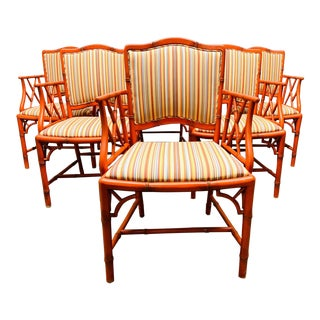 Set of Six Chippendale Style Faux Bamboo Dining Chairs For Sale