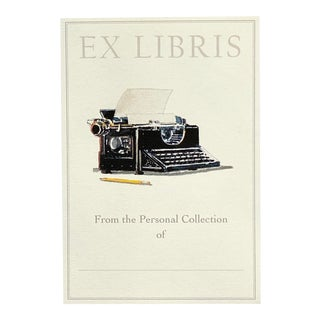"""Vintage Typewriter"" - Illustrated Large Bookplates - Set of 5 For Sale"