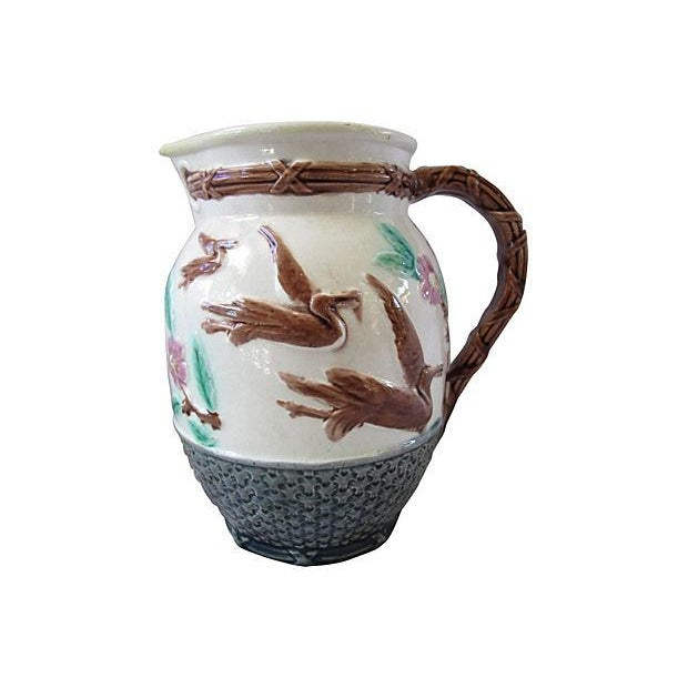 Antique English Majolica Basket & Bird Jug - Image 1 of 3