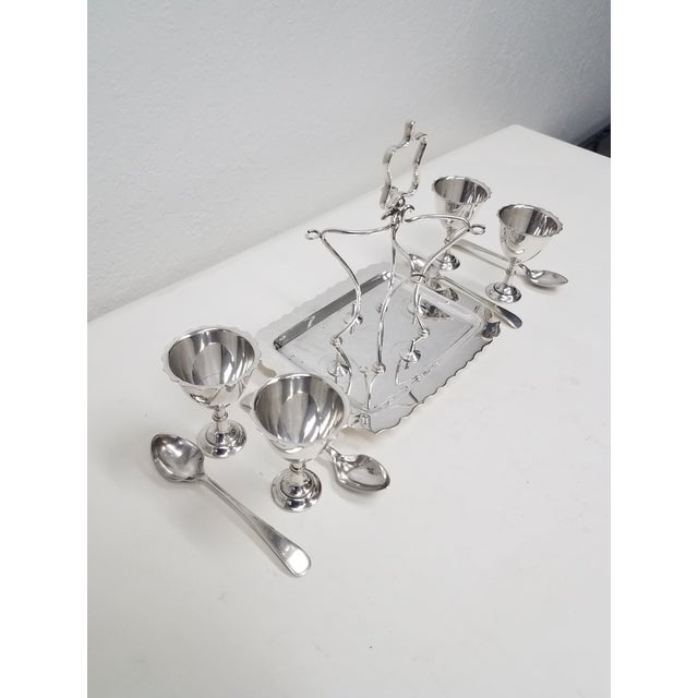 Walker & Hall Antique English Silverplate Four Egg Cruet With Spoons - Made by Walker and Hall - Set of 9 For Sale - Image 4 of 12