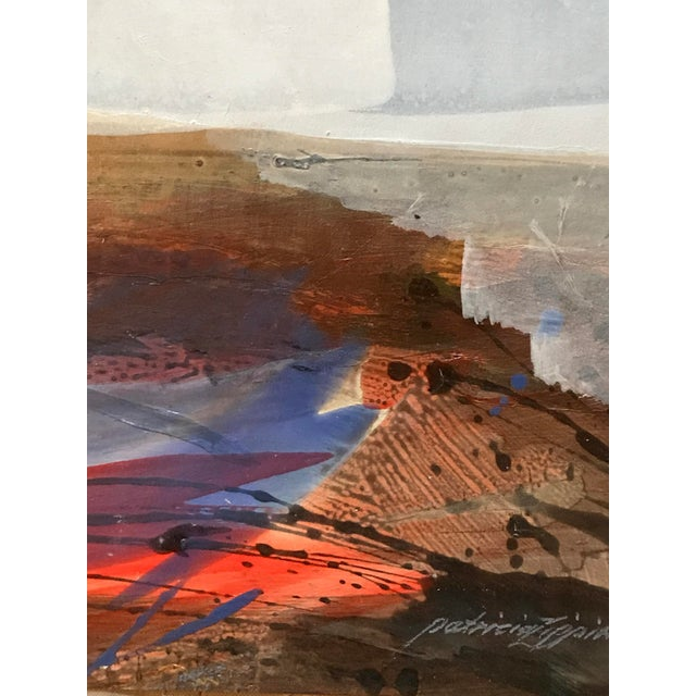 """Patricia Zippin Beach Skyline 1980s Mixed Media 15""""x 12"""", unframed Signed bottom right in paint Excellent Condition- Minor..."""