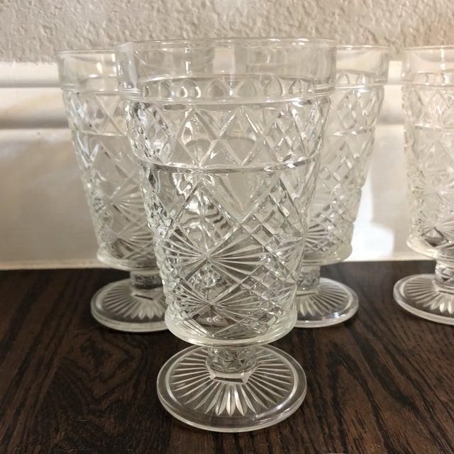 Set of 6 - Vintage Cut Glass Water Goblets For Sale - Image 4 of 5