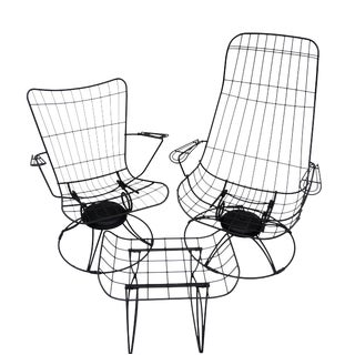 Mid-Century Homecrest Metal Wire Patio Chairs & Ottoman || Indoor/Outdoor High Back Swivel Rocker Lounger Footstool Original Cushions Included For Sale