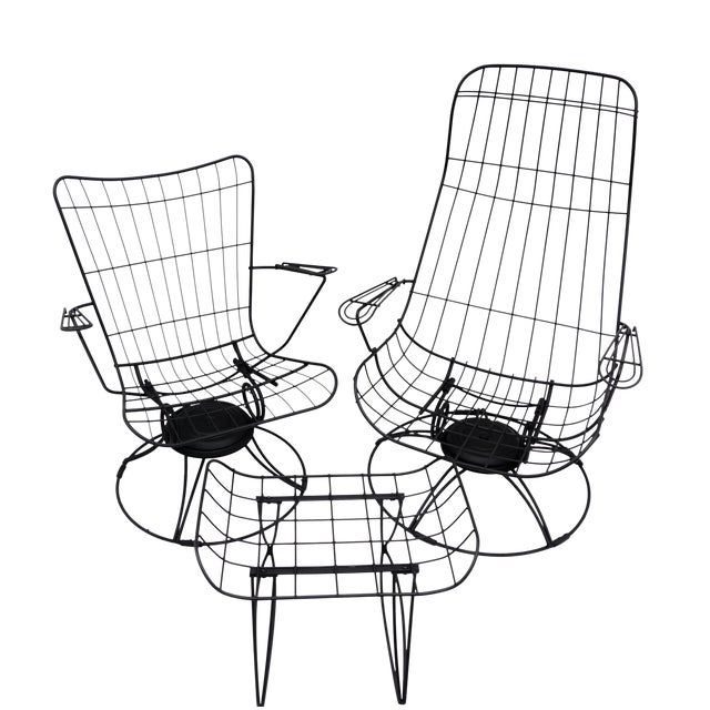 Mid-Century Homecrest Metal Wire Patio Chairs & Ottoman    Indoor/Outdoor High Back Swivel Rocker Lounger Footstool Original Cushions Included For Sale