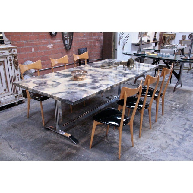 Traditional Parchment and Resin Dining Table with Stainless Steel Base For Sale - Image 3 of 9