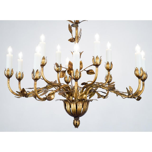French Baroque Revival style hand-hammered tole chandelier finished with  gold leaf. Two levels - Exceptional Vintage Gold Leaf Tole Chandelier DECASO
