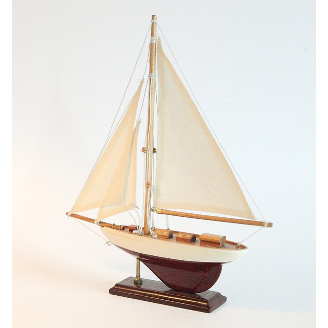 Nautical Vintage Model Sail Boat For Sale - Image 3 of 6