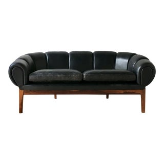 Black Leather Danish Sofa Designed by Illum Wikkelso 1950s
