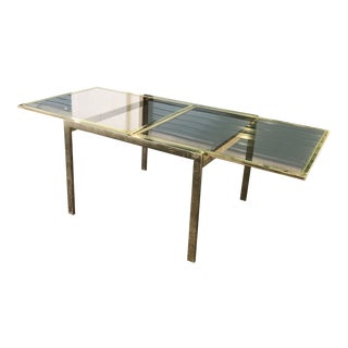 Vintage Dia Brass Lacquer and Glass Expanding Dining Table For Sale