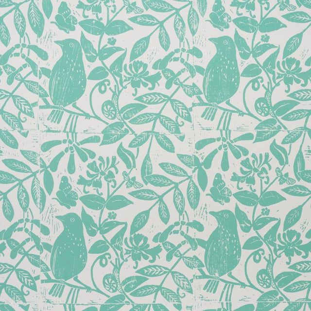2020s Schumacher X Molly Mahon Bird & Bee Wallpaper in Seaglass For Sale - Image 5 of 5