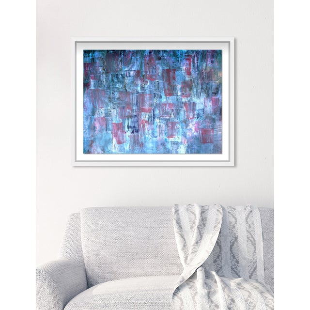 """Oliver Gal Medium 'Blue Lavender Waterfall' Framed Art 26"""" x 20"""" For Sale In Miami - Image 6 of 7"""
