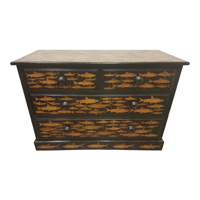 Antique English Fish Decoupage Chest of Drawers - Two Drawers Over Two Drawers For Sale