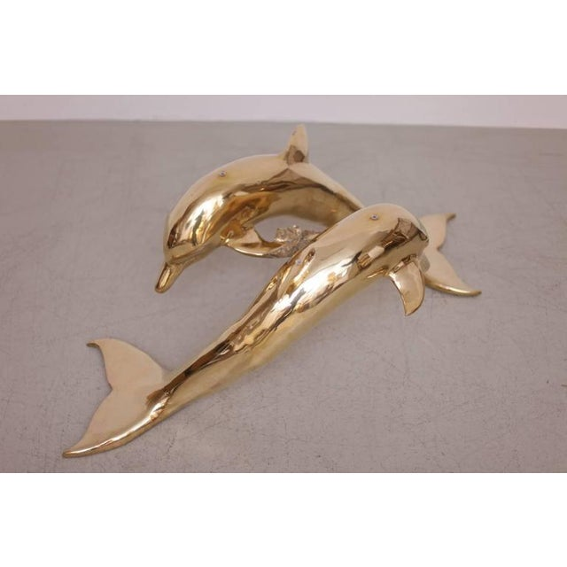 1970s Brass Coffee Table in Form of Two Dolphins For Sale - Image 5 of 10