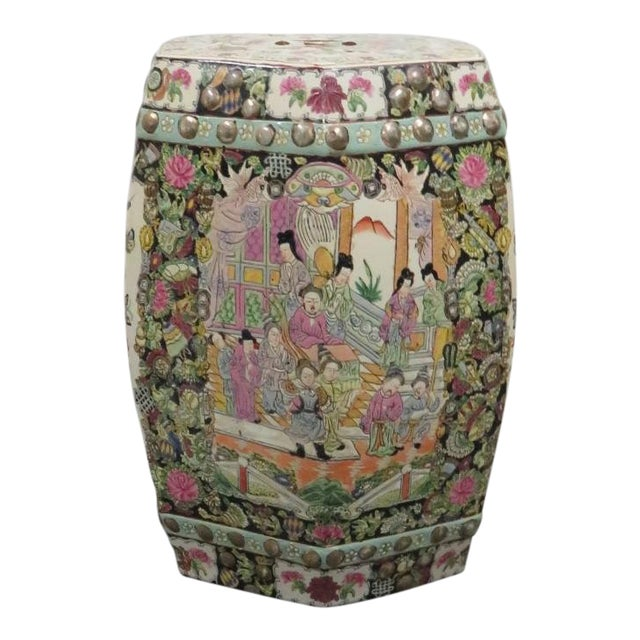 Rose Medallion Garden Stool For Sale