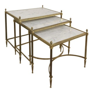 Set of 3 French Louis XVI Brass & Marble Nesting Tables For Sale