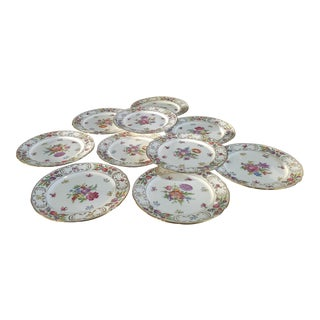 Set 10 Dresden Sprays Hammersley Bone China Floral 9 3/8 Inch Luncheon Dinner Plates C1960s For Sale