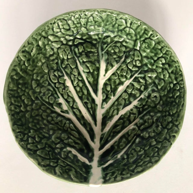 Green Vintage Faiancas Neto Cabbage Leaf Bowl For Sale - Image 8 of 8