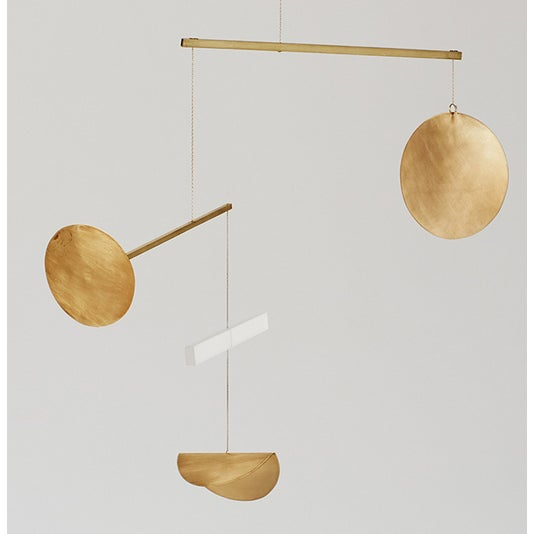 Brass and Frosted Plexiglass Mobile - Image 3 of 3
