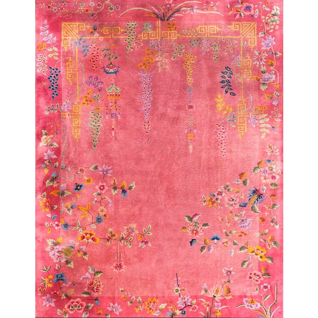 Textile Antique Chinese Art Deco Rug- 8′10″ × 11′4″ For Sale - Image 7 of 7