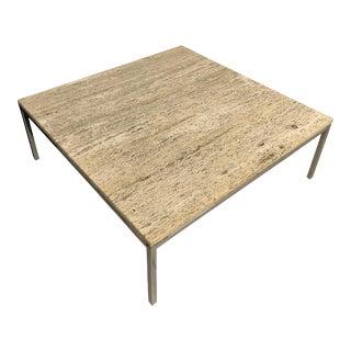Italian Travertine Grain and Chrome Base Coffee Table For Sale