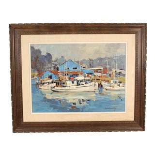 1980s Edward Norton Ward Harbor View Painting For Sale