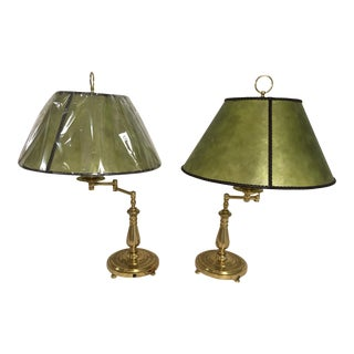 Brass Table Lamps With Mica Shades With Leather Twisted Trim - a Pair For Sale