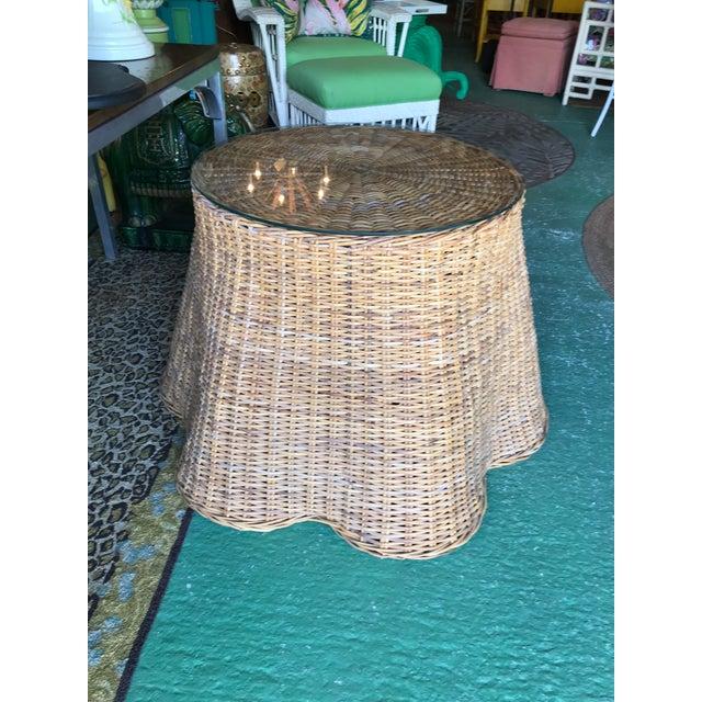 Trompe L'Oeil Rattan Wicker Draped Table Pedestal For Sale - Image 9 of 10