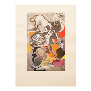 1947 André Beaudin, Original Period Chevaux Exaspérés Lithograph For Sale