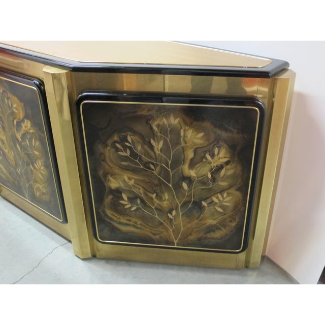 Bernhard Rohne 1970s Hollywood Regency Mastercraft Tree of Life Solid Brass and Black Lacquer Buffet For Sale - Image 4 of 12