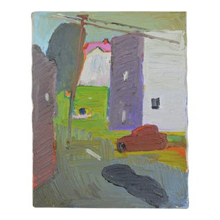 20th Century Abstract Oil on Canvas Street Scene by Theodore Roy Turner
