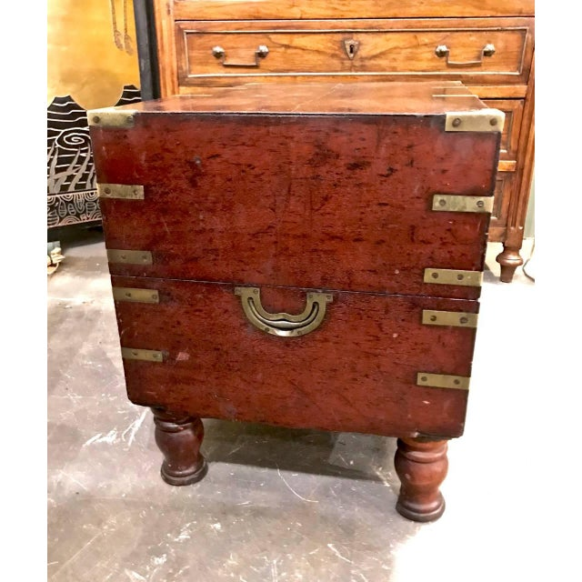 Anglo-Indian Early 19th Century English Mahogany Footed Campaign Chest or Trunk For Sale - Image 3 of 7