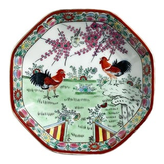 Octagonal Footed Chinoiserie Trinket Dish With Roosters & Floral Motif - Signed For Sale