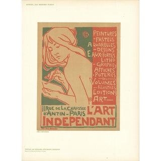 """EMILE BERCHMANS L'Art Independant 11.5"""" x 8.25"""" Lithograph 1897 Multicolor, Brown - a Pair For Sale"""