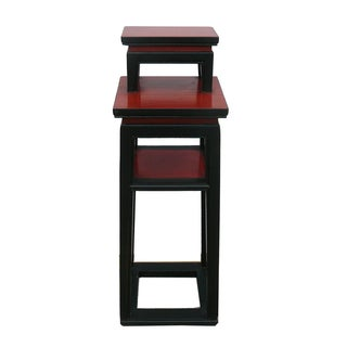Chinese Black & Red Narrow Side Table Stand Preview