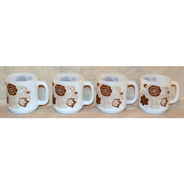 1970s Glasbake Brown Floral Mugs - Set of 4 For Sale - Image 5 of 5