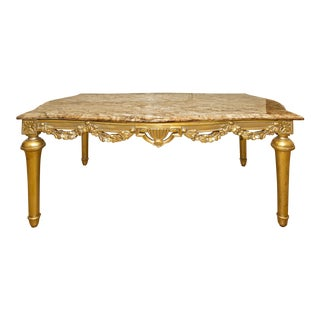Italian Baroque Marble Top Coffee Table For Sale