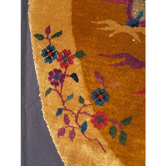 Art Deco Early 20th Century Antique Chinese Art Deco Oval Rug - 2′11″ × 5′4″ For Sale - Image 3 of 7