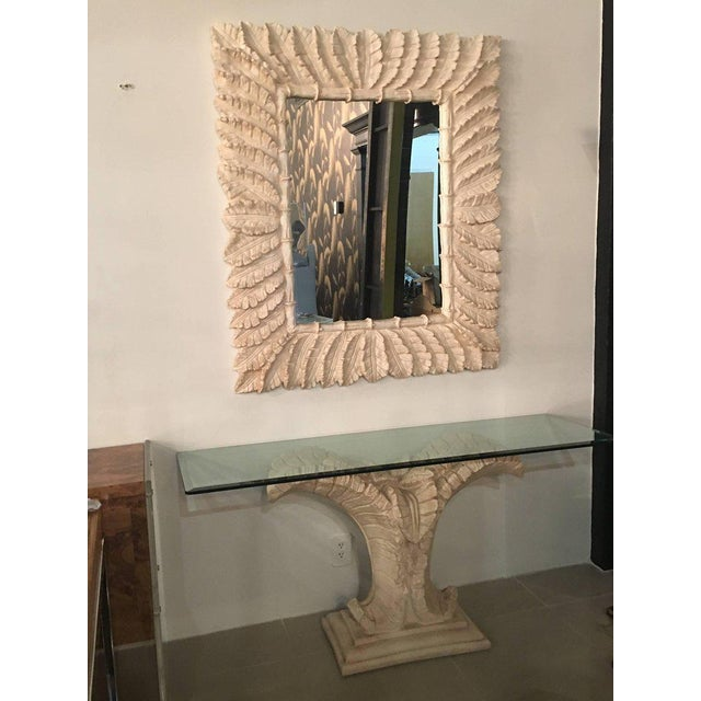 Tropical Palm Tree Faux Bamboo Console Table & Mirror - A Pair For Sale - Image 9 of 11