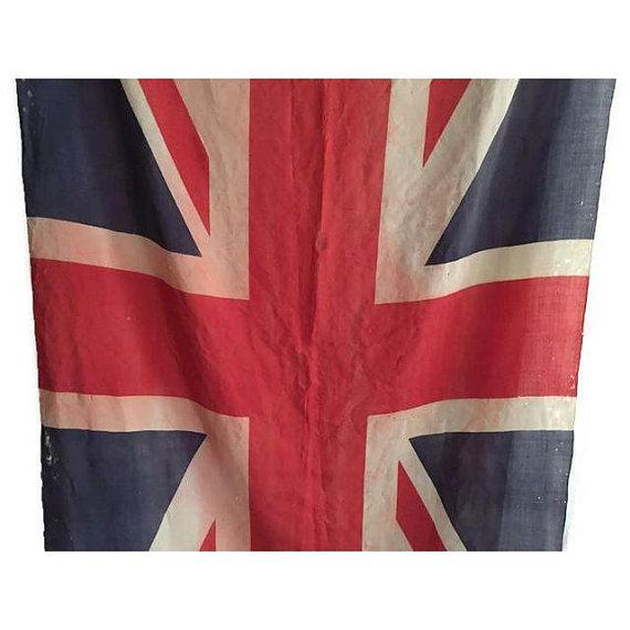 1940s Mid Century Modern Union Jack Flag Distressed Uk British Flag 8 Ft For Sale - Image 5 of 9